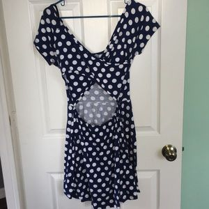 Blue and white polka dot dress with cut out back